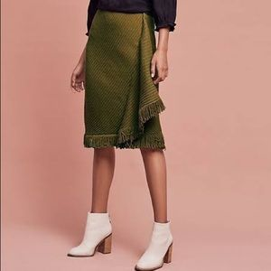 Anthropologie Wrapped Fringe Sweater Wool Skirt M